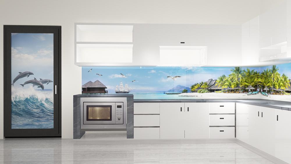 Kính 3d ốp bếp cảnh biển