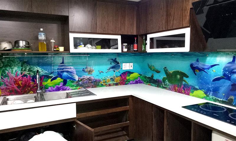 Kính ốp bếp 3D chủ đề đại dương
